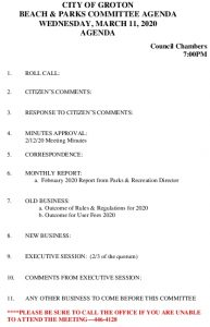 Beach And Parks Committee Agenda Mar 2020