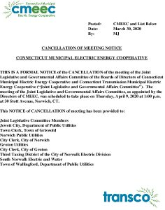 CMEEC Joint Legislative And Governmental Relations Committee Meeting Notice Of Cancellation Of 04-09-2020 Meeting 03-30-2020