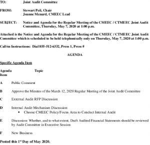 CMEEC Joint Audit Committee Agenda 05-07-2020