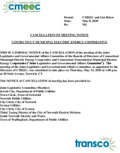 Joint Legislative And Governmental Affairs Committee Meeting Notice Of Cancellation Of 05-14-2020 Meeting 05-08-2020