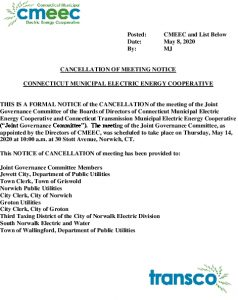 CMEEC Joint Governance Committee Meeting 05-14-2020 Notice Of Cancellation 05-08-2020