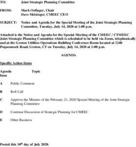 CMEEC Special Joint Strategic Planning Commitee Agenda 07-14-2020