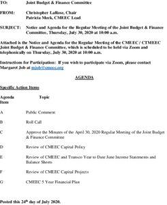 CMEEC Budget  Finance Committee Agenda 07-30-2020