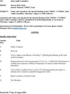 CMEEC Special Audit Committee Agenda 08-13-2020