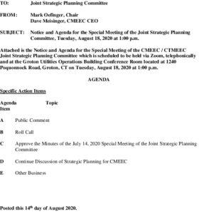 CMEEC Special Joint Strategic Planning Commitee Agenda 08-18-2020