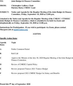 CMEEC Budget  Finance Committee Agenda 09-18-2020