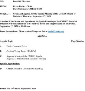CMEEC Special Board Mtg Agenda 09-17-2020