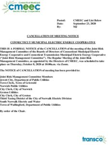 CMEEC Joint Risk Management Committee Notice Of Cancellattion Of 10-08-2020 Mtg 09-23-2020