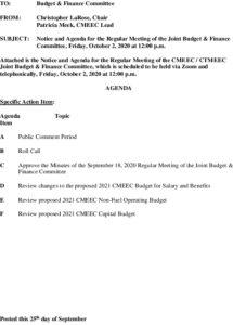 CMEEC Budget And Finance Agenda 10-02-2020