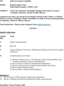 CMEEC Governance Committee Agenda 10-08-2020