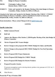 CMEEC Budget  Finance Committee Agenda 10-16-2020