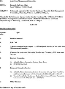 Joint Risk Management Committee Agenda 10-15-2020