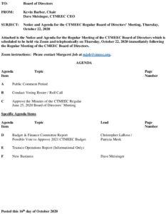 CTMEEC BOD Agenda 10-22-2020