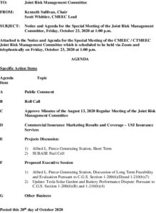 Special Joint Risk Management Committee Agenda 10-23-2020