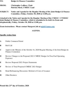 CMEEC Budget  Finance Committee Agenda 10-30-2020
