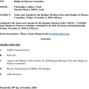 CMEEC Budget  Finance Committee Meeting 11-06-2020