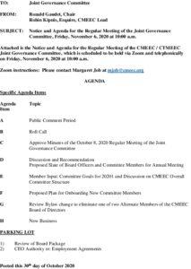 Icon of CMEEC Governance Committee Meeting Agenda 11-06-2020