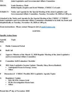 Icon of Special CMEEC Legislative And Gov Affairs Committee Agenda 11-10-2020