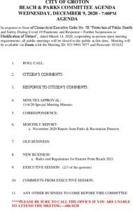 Beach And Parks Committee Agenda Dec 2020