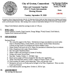 Icon of PACT Youth Subcommittee Minutes 9-29-20