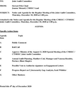 Icon of Audit Committee Agenda 12-10-2020