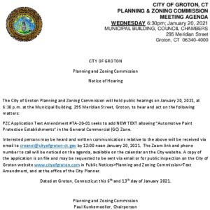 Icon of Notice Of P&Z Hearing 1-20-21