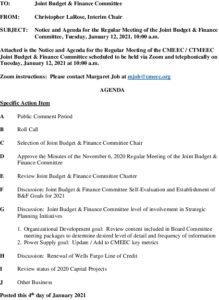 CMEEC Budget  Finance Committe Agenda 01-12-2021
