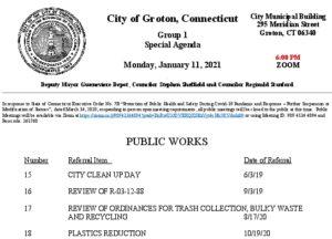 Group 1 Agenda - Public Works 1-11-21