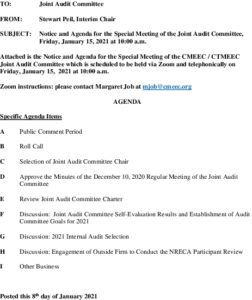 CMEEC Joint Audit Special Meeting Agenda January 15 2021