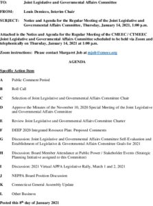 CMEEC Joint Legislative And Governmental Affairs Committee Agenda 01-14-2021