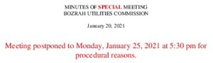 Icon of BUC Special Meeting Minutes January 20, 2021