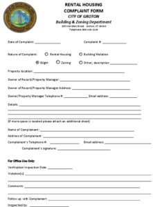 Icon of Rental Housing Complaint Form