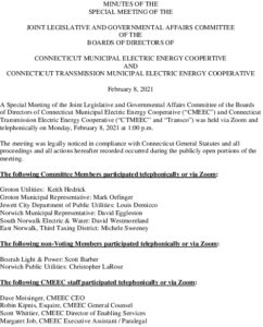 CMEEC Special Legislative And Governmental Affairs Committee Minutes 02-08-2021