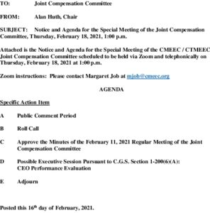 Special Compensation Committee Meeting Agenda 02-18-2021