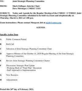 CMEEC Strategic Planning Committee Agenda 03-04-2021