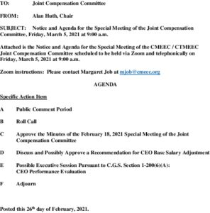Special Compensation Committee Meeting Agenda 03-05-2021