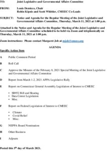 Icon of CMEEC Legislative And Governmental Affairs Committee Agenda 03-11-2021