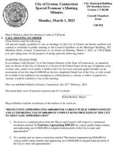 Freeman's Meeting Municipal Improvements Groton Utilities Bozrah 3-1-21