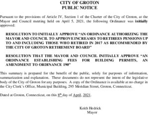 Icon of Ordinance Retiree Pension And Building Fees Initial Approval  4-8-21