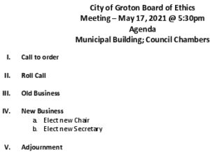 Icon of Board Of Ethics 05-17-2021
