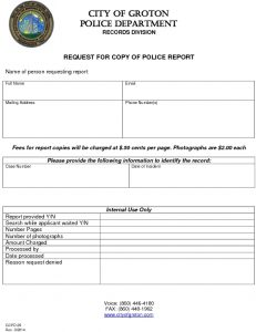 Icon of Request For Copy Of Police Report