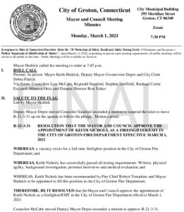 Icon of Mayor And Council 03-01-21 Minutes FINAL