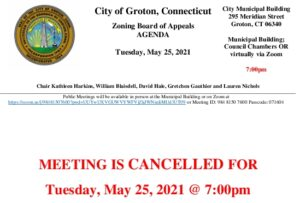 Zoning Board Of Appeals 05-25-21 V2 Cancellation