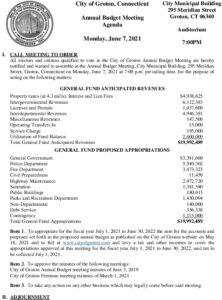Yearly Budget Meeting 06-07-21 Agenda