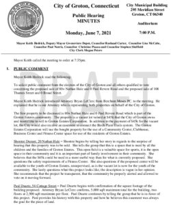 Icon of Public Hearing - Sale Of Property 06-07-21 Minutes