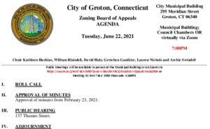 Zoning Board Of Appeals 06-22-21 Agenda