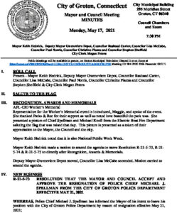 Icon of Mayor And Council 05-17-21 Minutes FINAL