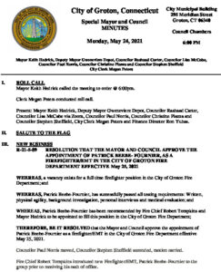 Icon of Mayor And Council 05-24-21 Special Minutes FINAL