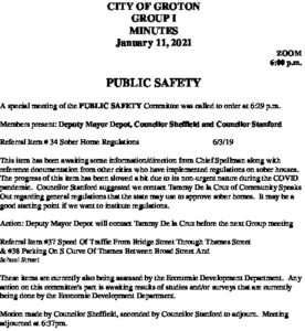 Icon of Group I - Public Safety Minutes 01-11-21