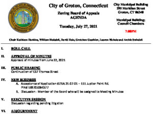 Icon of Zoning Board Of Appeals 07-27-21 Agenda